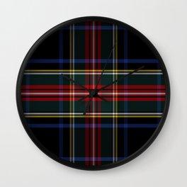 BLACK STEWART TARTAN Wall Clock