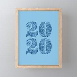 Happy Floral 2020 Classic Blue Framed Mini Art Print