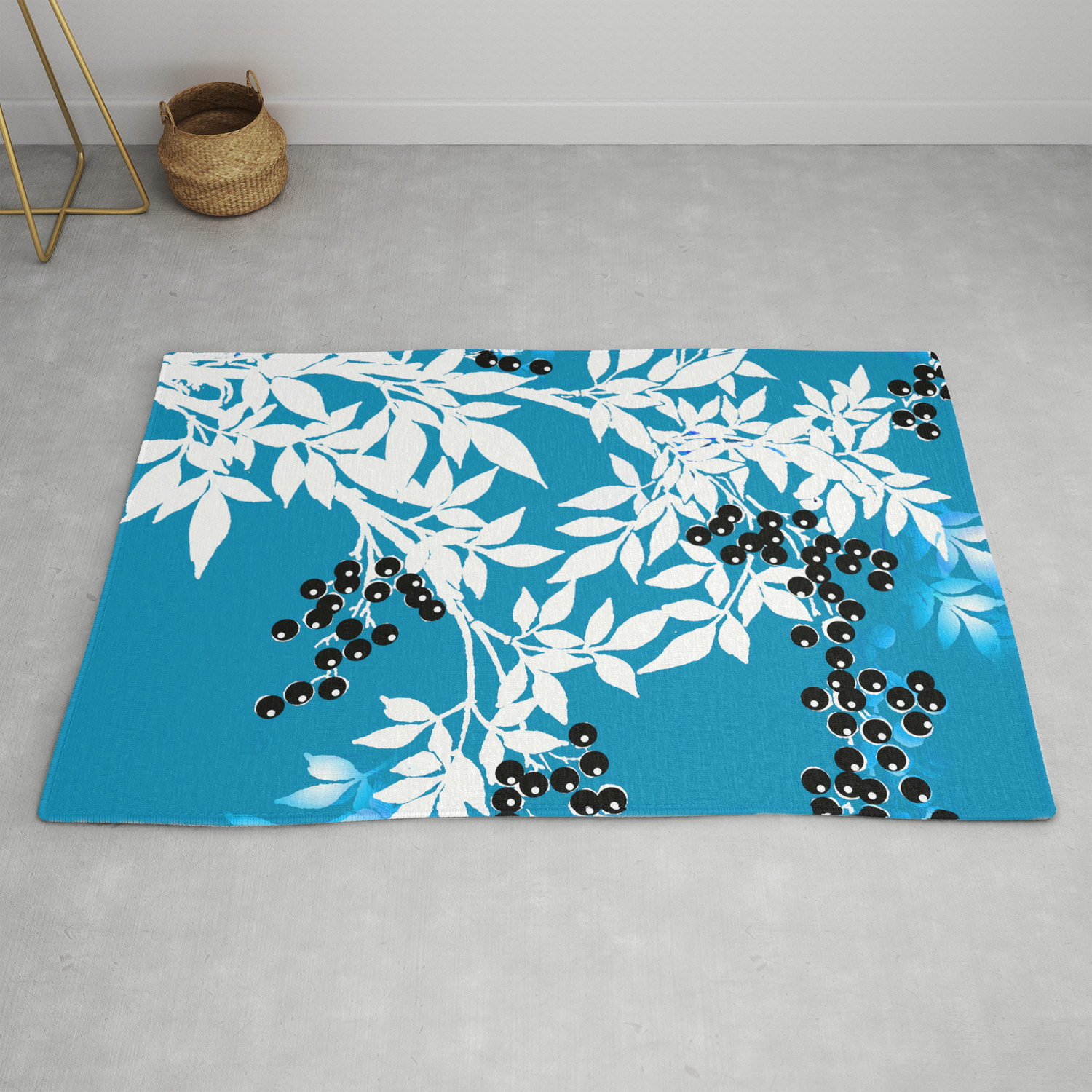 Blue And White With Black Berries Toile