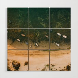 Aerial view of a Lagoon with boats Wood Wall Art