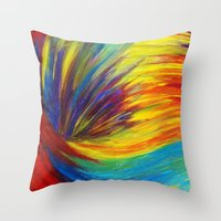 Throw Pillows featuring RAINBOW EXPLOSION - Vibrant Smile Happy Colorful Red Bright Blue Sunshine Yellow Abstract Painting  by EbiEmporium