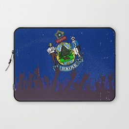 Maine State Flag with Audience Laptop Sleeve