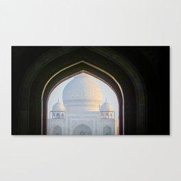First View of Taj Mahal through the Morning Mist Canvas Print