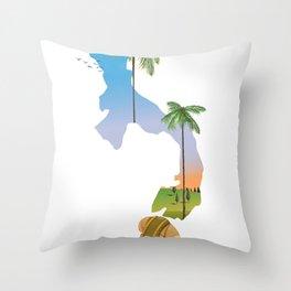 Panama map travel poster. Throw Pillow