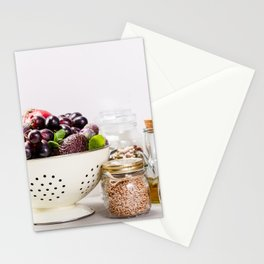 fruits, vegetables, grains, legumes and nuts Stationery Cards