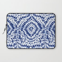Indigo Blue Tie Dye Textile Pattern Laptop Sleeve