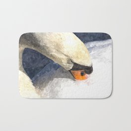 Swan Watercolour Art Bath Mat