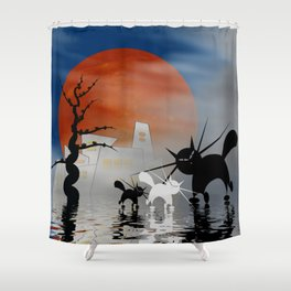 mooncats and their city Shower Curtain