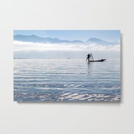 Inle Lake Fisherman Metal Print