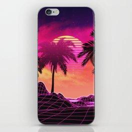 Pink vaporwave landscape with rocks and palms iPhone Skin