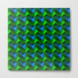 Pyramids of bright light blue. squares and triangles in blue. Metal Print