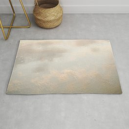 Mirror in the sand | Clouds mirrored on the beach during sunrise | New zealand photo art Rug