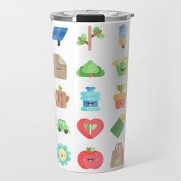 CUTE GREEN / ECO / RECYCLE PATTERN Travel Mug