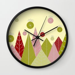 Trees and Ornaments Triangles and Circles Christmas Illustration Wall Clock