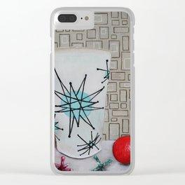 Atomic Starburst Retro Painting Clear iPhone Case