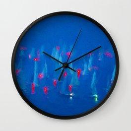 SAILBOAT BAY-Blue Night on the Water Wall Clock