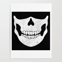Skull Face Black and White Poster