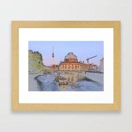 Berlin Spree Bode Museum and Alexander tower Framed Art Print