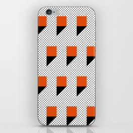 A lot of orange 3d Commas, planted in a carpet with black dots. iPhone Skin