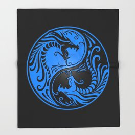 Blue and Black Yin Yang Dragons Throw Blanket