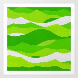 Waves - Lime Green Art Print