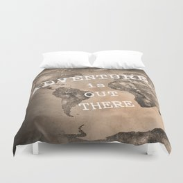 Adventure is out there. Stars world map. Sepia Duvet Cover
