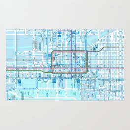 Chicago map in blue Rug