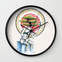 health Wall Clocks featuring Health by M. Adeline Nef