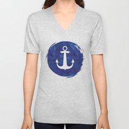 Watercolor Ship's Anchor Unisex V-Neck