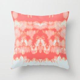 Shibori Neue Coral Throw Pillow