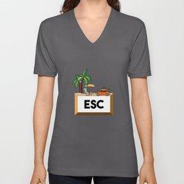 Esc Vacation Escape Key Professional Programmer Unisex V-Neck