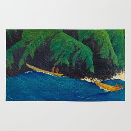 Kawase Hasui Vintage Japanese Woodblock Print Beautiful Green Cliffs Raging Blue Waters With Fisherm Rug