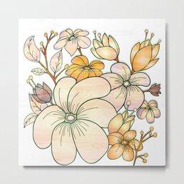 Pastel Floral Design Metal Print