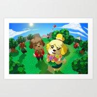 animal crossing Art Prints featuring Animal Crossing by Kaciel