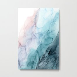 Beachy Pastel Flowing Ombre Abstract Flip Metal Print