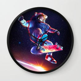 Synthwave Space #24: Astronaut and skateboard Wall Clock