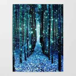 Magical Forest Teal Turquoise Poster