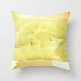 Yellow green watercolor Throw Pillow