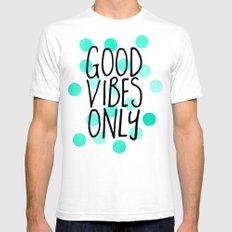 Good Vibes Only SMALL White Mens Fitted Tee