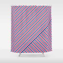 Red White and Blue Diagonal Stripes Shower Curtain
