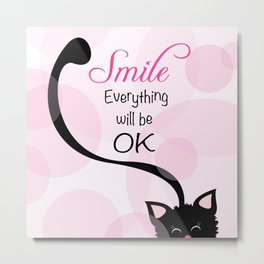 Happy Black Kitty Cat Metal Print