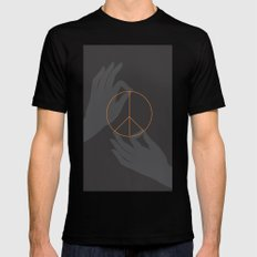 Buddha and peace Mens Fitted Tee MEDIUM Black