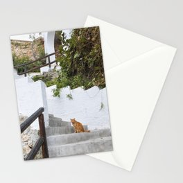 ginger cat on stairs Nerja Spain Stationery Cards