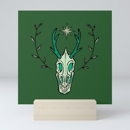 Spring head of a smiling deer Mini Art Print