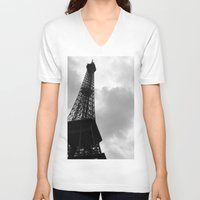 eiffel tower V-neck T-shirts featuring Eiffel Tower by David Hohmann