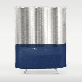 Navy Blue Mid Century  Shower Curtain