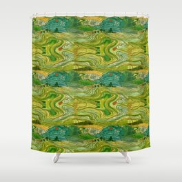 Terraced Rice Paddy Fields Shower Curtain