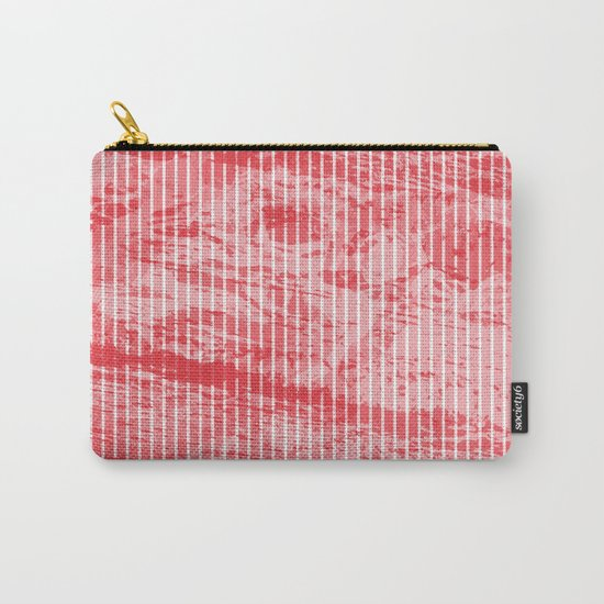 Grunge red and white stripes texture Carry-All Pouch