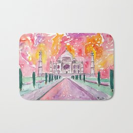 Taj Mahal - Colorful Crown of the Palace and Love Bath Mat