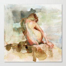 Watercolour Nude Woman Figure Expressive Colourful Painting of Female Canvas Print